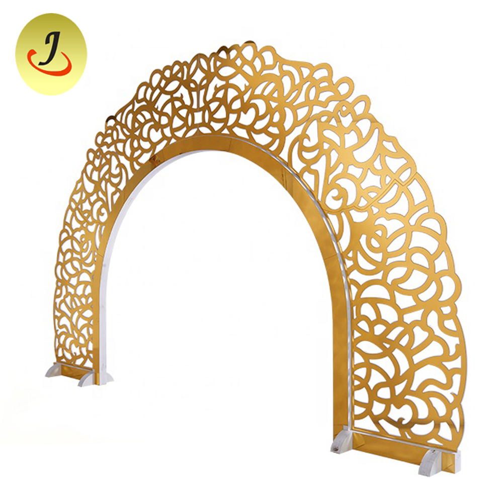 Gold wooden carving stage backdrops decoration for wedding events Featured Image