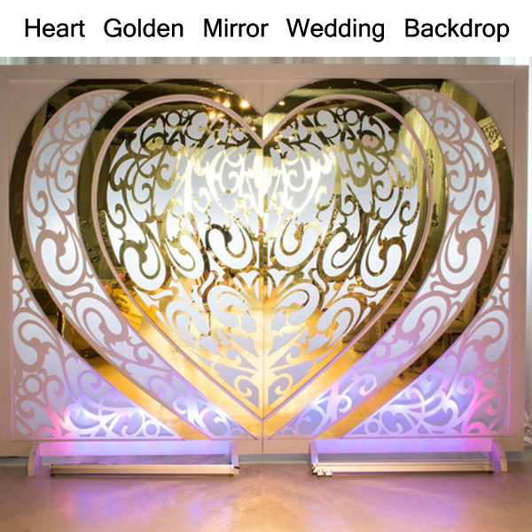 Heart Golden Mirror Wedding Backdrop SF-BJ03 Featured Image