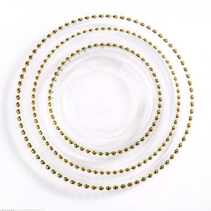 Cheap Wedding Glass Beaded Gold Charger Plates Wholesale SF-PZ01