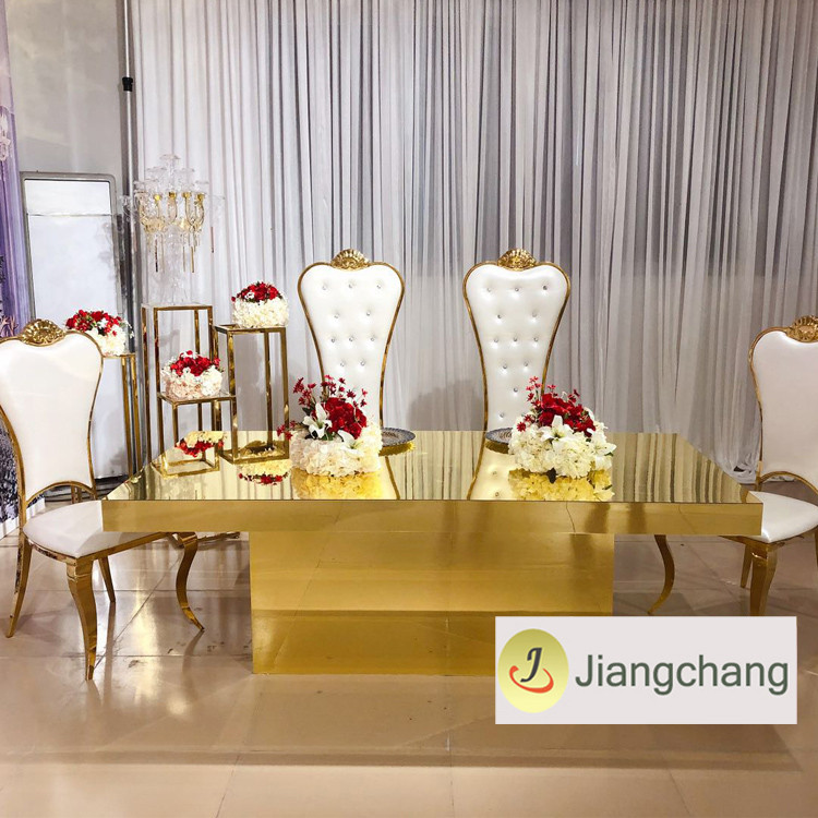 Modern-rectangular-gold-stainless-steel-frame-wedding (5)