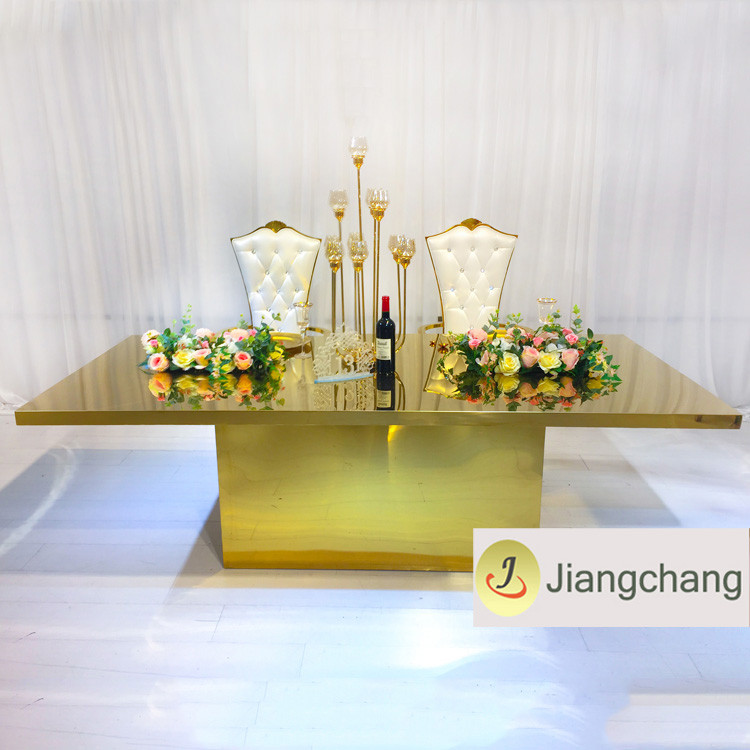 Modern-rectangular-gold-stainless-steel-frame-wedding